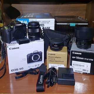 Canon M5+sandisk 16G, 18-55mm, 50mm 1.8 ii, NEW EF-EOS Mount Adapter, NEW camera box, NEW eos bag
