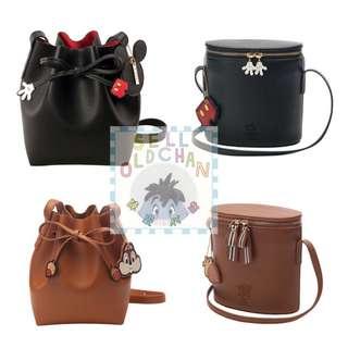 [#陳皮代購 ] 台灣代購米奇/Chipndale 壓紋雙拉鍊圓筒側背包及綁結束繩水桶包