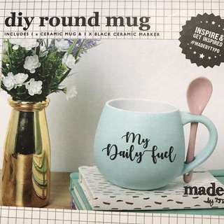 Typo diy ceramic mug with spoon