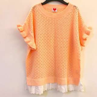 🚚 轉賣)Moss嫩粉橘波浪袖 白色蕾絲下擺短袖 上衣