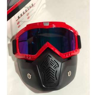 Motorcycle Detachable Uni Mask with Goggles Red Rainbow Lens