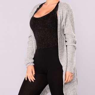Fashion Nova Grey Knit Cardigan