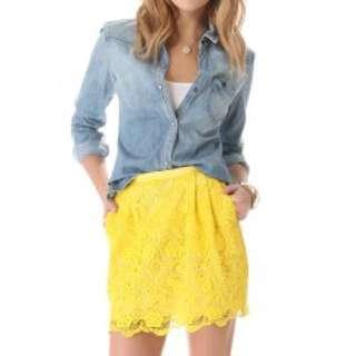 Club monaco yellow lace skirt