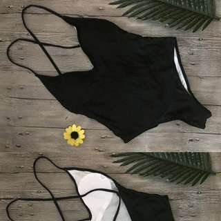 Swimsuit one piece black scrappy lace back Size M