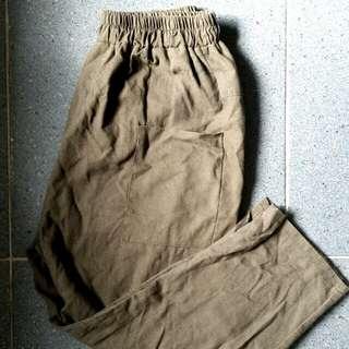 軍綠色 棉麻 雙寬口袋 寬褲