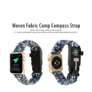 Woven fabric camp compass strap for Apple Watch 38mm