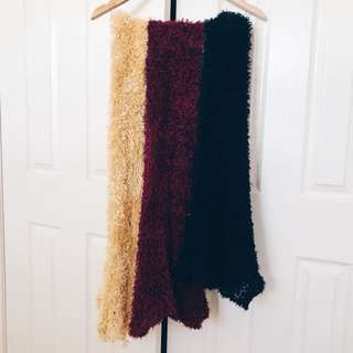 Fluffy Scarves (Yellow/Burgundy/Black)