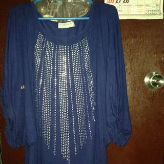 Preloved: Plus size Karen Kay Royal Blue long blouse