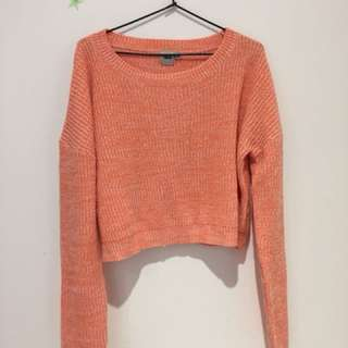 cropped peach knitted jumper - size 16