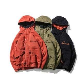 🚚 FRANK'S歐美直送-加厚 鋪棉外套 3色 刺繡 大口袋 M65 工作夾克 歐美 復古 撞色 棒球夾克 日系 寬鬆