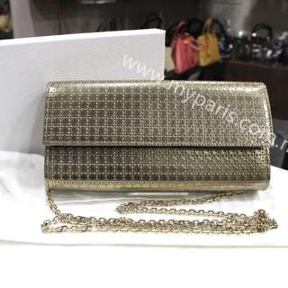 Christian Dior Lady Dior Croisiere Wallet In Metallic Champagne Perforated Calfskin