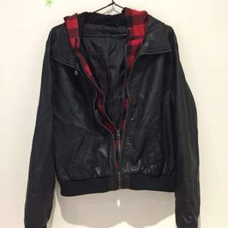 faux leather and plaid jacket - size 16