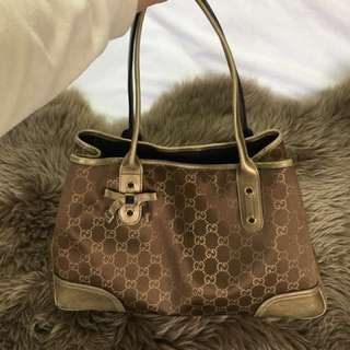 Authentic Gucci Metallic Gold Princy Tote