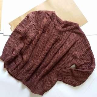 土色咖啡色麻花針織毛衣