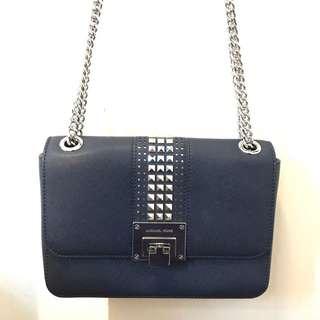 Michael Kors navy shoulder bag with chain