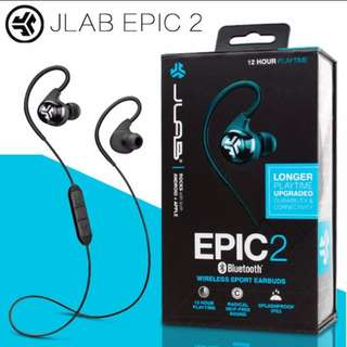 JLAB EPIC 2 BLUETOOTH 4.0 HEADPHONES/ EARPHONES / EARPIECE < NEW AND AEALED >