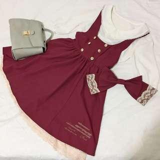 日本日系ank風格學院風蕾絲蝴蝶結音樂酒紅吊帶洋裝lolita