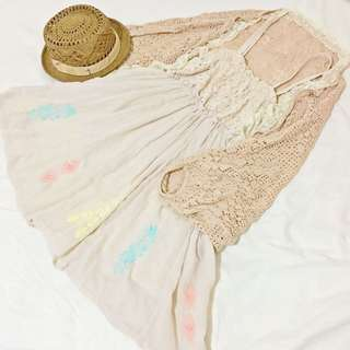 🚚 Earth music 森林系蕾絲邊粉色罩衫