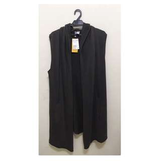 🆕 H&M Unisex Long Vest Hoodie Jacket Dark Grey