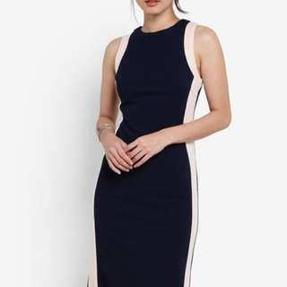 【Zalora】Colour Block Midi Dress in Navy