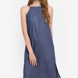 【Something Borrowed】Cut In Midi Dress in Denim Blue