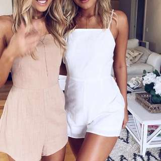 White linen straight high neck backless playsuit