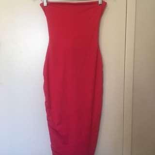 Kookai red strapless dress size 1