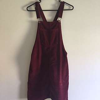 Maroon corduroy overalls pinafore dress