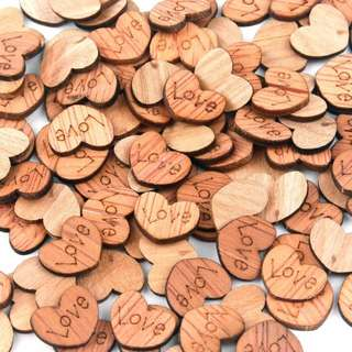 100pcs Wooden Love Hearts Valentine's Day