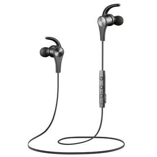 New Black SoundPEATS Bluetooth Headphones Wireless Earbuds 4.1 Magnetic Bluetooth Earbuds aptX With Mic for Sports Workout (7 Hours Play Time, Noise Cancelling, Hands-free Calls)