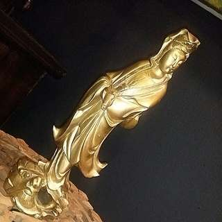 Chinese Vintage Wood Carved Kwan Yin Statue Painted Gold
