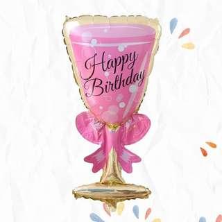 Balon Foil HBD Gelas Wine Pink
