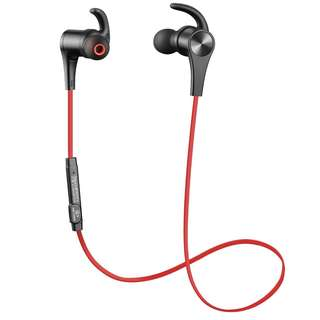 Red SoundPEATS Bluetooth Headphones Magnetic Wireless Earbuds Sport In-Ear Sweatproof Earphones with Mic (Bluetooth 4.1, aptx, 6 Hours Play Time, Secure Fit Design)