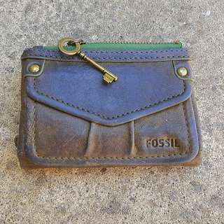 Genuine Fossil Soft Leather Purse Brown & Green Vintage Rustic