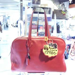 Hermes Red Leather Classic Victoria 35cm Travel Shoulder Hand Bag 愛馬仕 紅色 牛皮 皮革 維多利亞 35公分 手挽袋 手袋 肩袋 袋 旅行袋