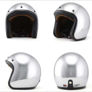 Chrome Silver Motorcycle Helmet Open Face Three Button Snap Retro Vintage Vespa Scooter Cafe Racer Motorbike Leather Gloss Old School Harley Davidson