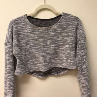 Sparkly grey cropped sweater