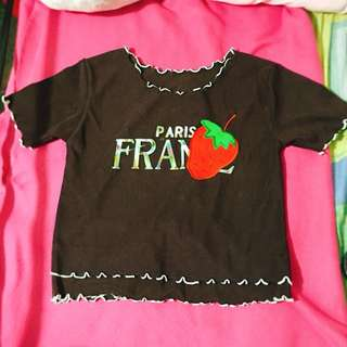Paris France Brown Shirt XS-M sizes Stretchable
