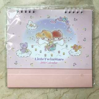 Cute Pink Japan Only 2018 Sanrio Little Twin Stars Desk Calendar 📆