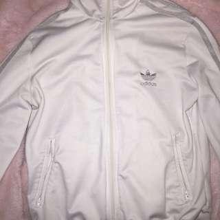 White adidas tracksuit sweater