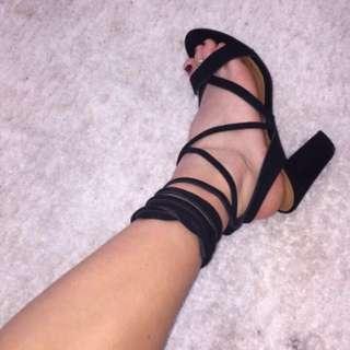 Tie up high heels black
