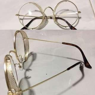 Kacamata vintage gold bulat