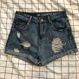 Ripped High Waisted Shorts