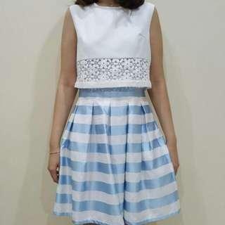 Casual Dress Two Tone (Biru Putih)