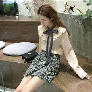 Black Plaid Asymmetrical Frayed Hem Mini Skirt