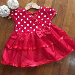 Polka dots cheongsam cny tutu tulle dress skirt baby girl infant newborn toddler