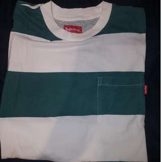 Supreme Green And White Stripe Pocket Tee
