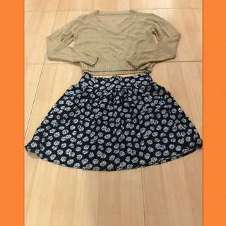 Set knitted top n cotton on skirt