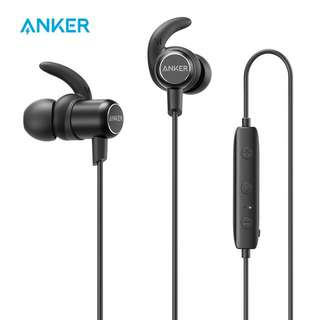 Anker SoundBuds Slim Wireless Headphones, BT v4.1 Lightweight Stereo Earbuds with Magnetic Connection,  Headset with Metallic Housing & Built-in Mic (Black)