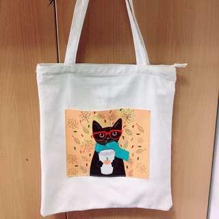 🚚 貓咪 帆布側背包